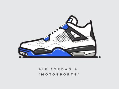 """Air Jordan 4 """"Motorsports"""" jordan nike air jordan shoes sneakers vector illustrator illustration line art logo"""