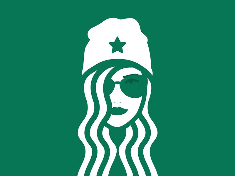 Hipstarbucks brand minimalist icon logo illustrator illustration vector coffee starbucks