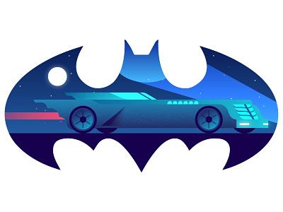 Batmobile nostalgia 90s blue gradient illustration vector comic dc mobile batmobile batman