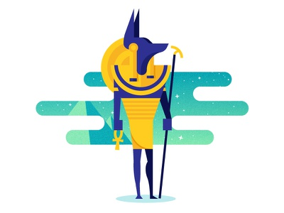 Anubis space illustration illustrator vector gradient pyramid egypt gods anubis