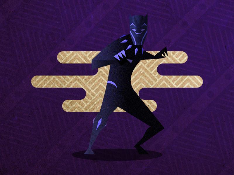 Black Panther africa texture gradient purple vector panther illustration illustrator superhero marvel tchalla black panther