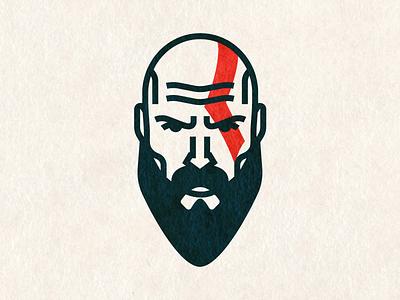 Kratos kratos games vector illustration portrait face beard minimal person god of war logo avatar