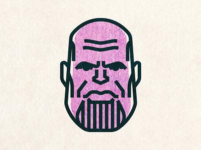 Thanos the Mad Titan movie face person minimal illustration portrait vector ironman thor avengers thanos