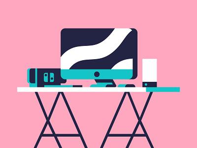 My Workstation design workstation vector pink green minimal switch illustration illustrator imac desk