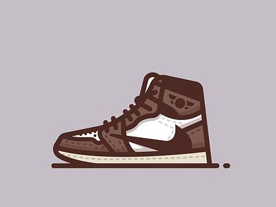 Travis Scott 'Cactus Jack' Jordan 1 fashion travis scott vector logo icon minimal illustration illustrator sneakers shoes