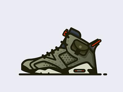 Travis Scott X Nike Air Jordan 6 travis scott minimal fashion vector jordans nike sneakers icon shoes illustrator illustration