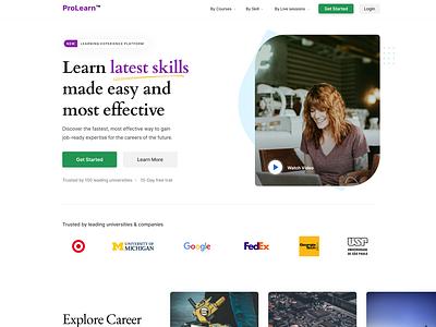 Pro-Learn Landing Page video learning platform learning management system webdesign website