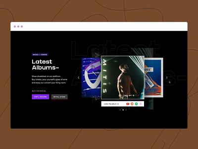 DJ Artist Website Design branding illustration website music player ui slider animation music artist web design landing page design card design uidesign music website