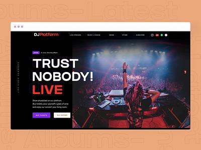 DJ-Artist Website Design music webpage landing page dark theme ui arts website design music website uidesign website