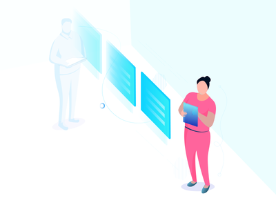#5 Future People Illustration women building tech gradients illustration isometric
