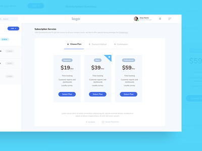 Subscription Service pricing table card designs checkout screens subscription webapp