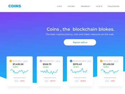 Coins_Homepage cryptocurrency website design bitcoin website design blockchain homepage crypto app