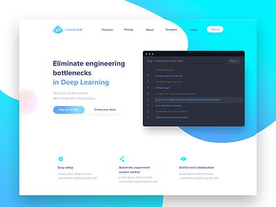 AI Website Design header gradients artificial intelligence startup