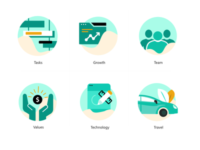 Icon Sheet travel icons illustration vector growth icon tasks icon values icons team icons