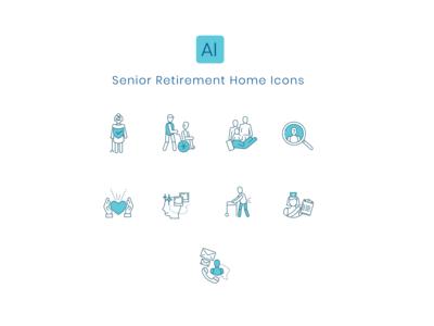 Senior Home Retirement Icon Set