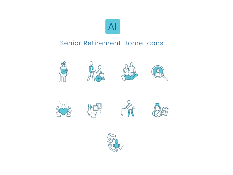 Senior Home Retirement Icon Set senior home care outline icons line icons icons care for the old nursing home pwd old people icon design iconography iconology icon set retirement senior home senior