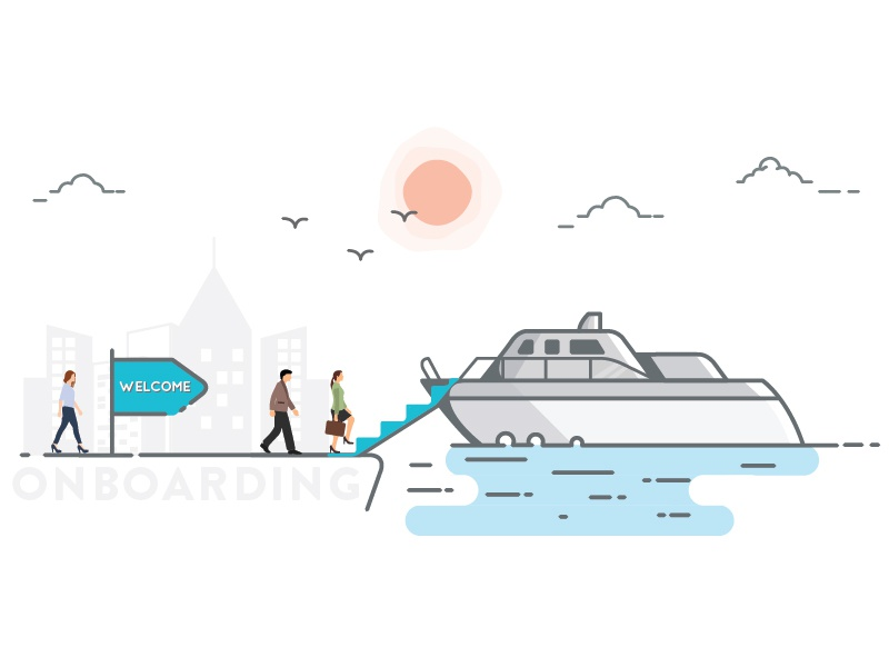Onboarding Header Illustration dock on-board welcome ship illustration on-boarding