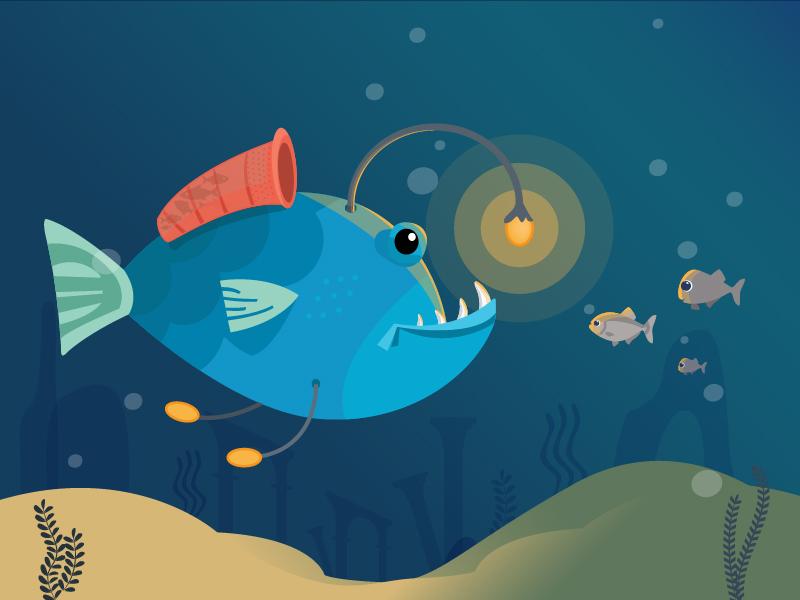 Angler Fish sea angler-fish fish illustration