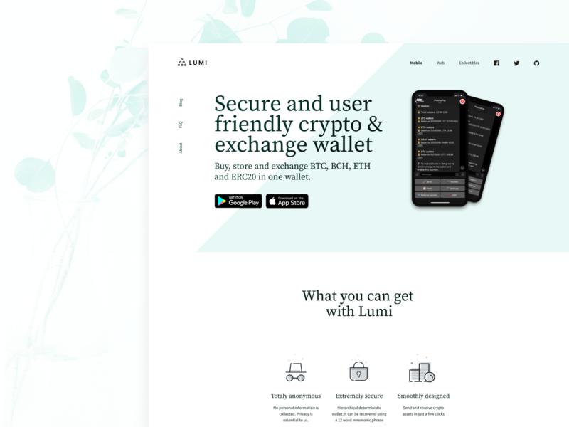 Lumi // Landing Page minimalism minimal funnel redesign eth btc crypto wallet wallet crypto exchange exchange blockchain cryptocurrency blockchain crypto currency crypto landing page landing