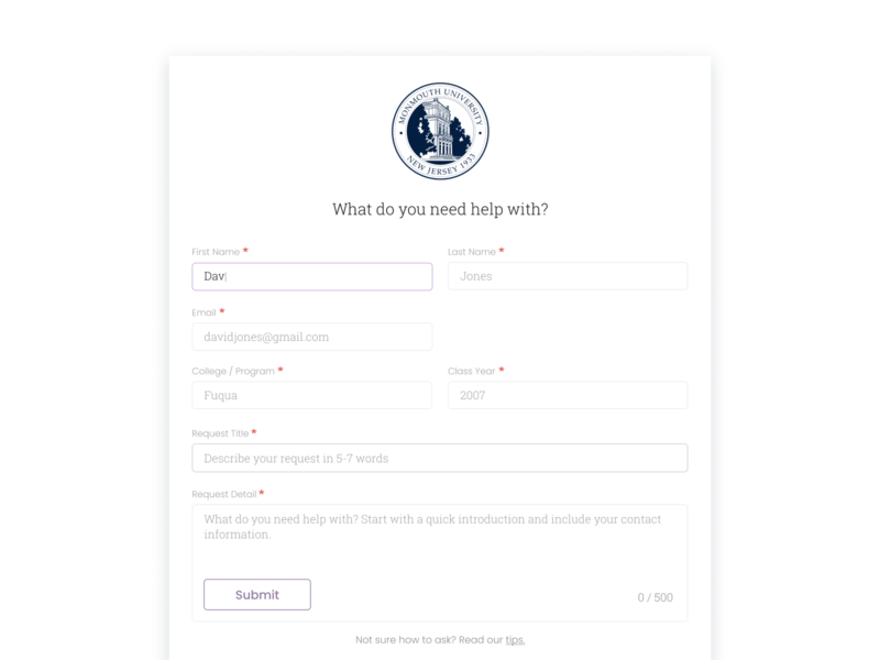 Request Page // Protopia optional required label placeholder minimalistic minimalist simplicity ux submit field form design form saas landing page saas website saas design saas