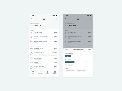 Bottom Sheets transactions balance financial app financial banking fund money transfer navigation tab bar bottom sheet