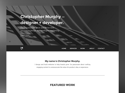 CM Portfolio Redesign layout bw portfolio wip web design