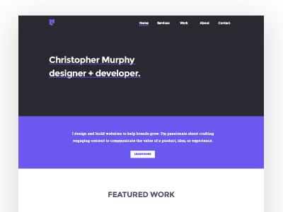 CM Portfolio Redesign Variant landing page web design website purple portfolio