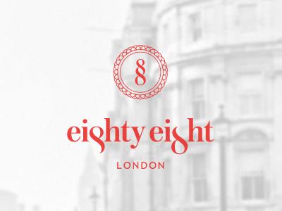 Eighty-Eight Hotel - London logo brand identity minimal clean logotype wordmark london luxury elegant hotel boutique design typography type