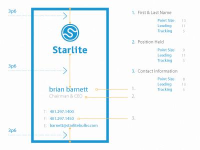 Starlite Business Cards logo brand identity minimal clean logotype wordmark design lightbulb typography print design business card print