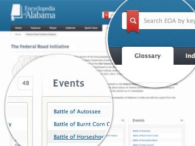 EOA Site Design web website ui clean html5 css3 texture user interface navigation search design