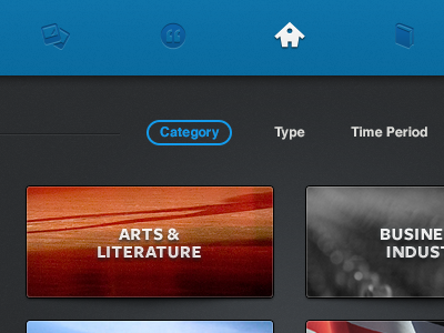 Navbar & Category Selection ui user interface search nav navigation clean simple gradient icons thumbnail dark header