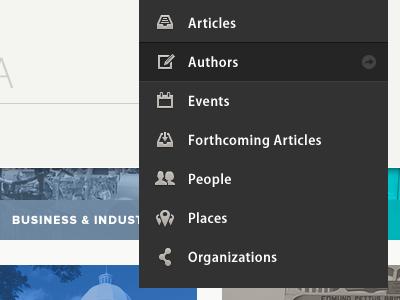 Browse by Type Dropdown ui user interface interface light minimal nav dropdown list menu icons icon