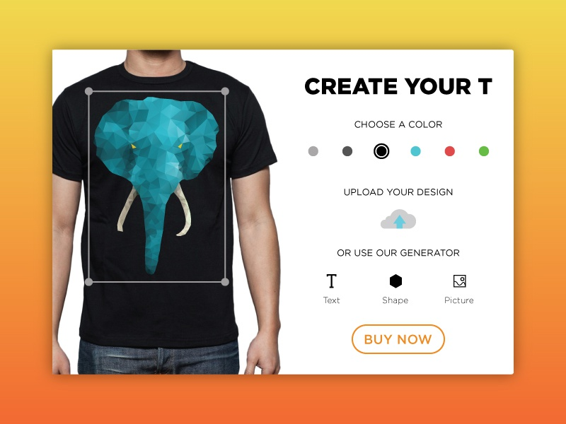100 Days of UI - Day 015 (T Shirt Creator) by Sahar Brodbeker ...