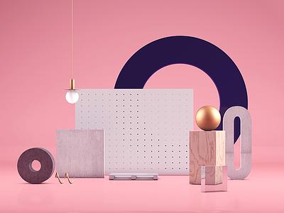 Pink Setup Scene cinema4d pink render 3d illustration