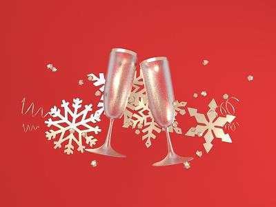 Cheers! holidays christmas design arnold render cinema 4d 3d illustration