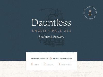 Dauntless by Seafarer Brewery - Packaging Concept #1 branding packaging beer ale craft maritime sea ocean sailing sailor dauntless brewery water seafarer sailing ship ship
