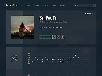 Ultimate Guitar Redesign deaf havana website tablature ux ui learning music tab redesign web design guitar ultimate guitar