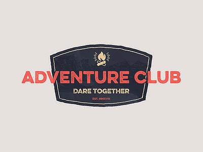 Adventure Badge Dribbble briefbox stamp mountains branding logo fire distressed camping badge club adventure