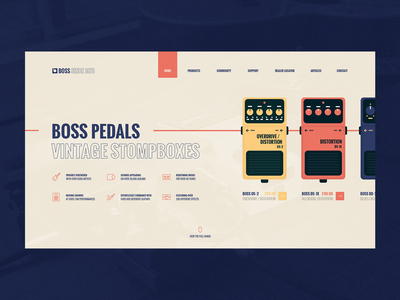 Boss Pedals - Landing Page ecommerce ui website stompboxes boss guitar pedals guitar music landing page web design