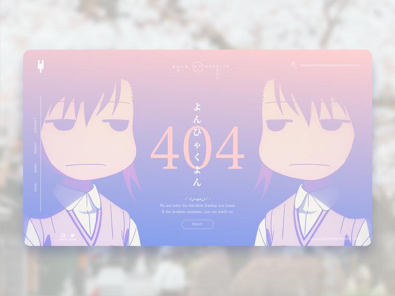 Anime 404 Error Page Concept error pink concept web japanese typography ui adobe xd baka anime 404 page