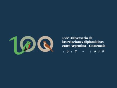 100º anniversary of Argentina and Guatemala anniversary birds typography guatemala argentina design logo