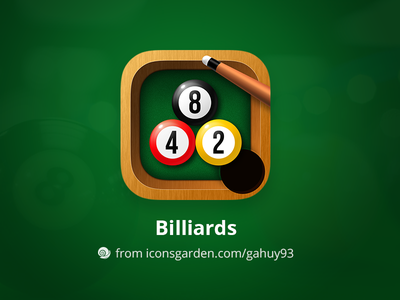 Free PSD Billiards app icon wood table snooker stick ball game sport pool billiard iconsgarden icon ios