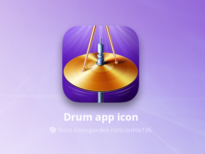 Drum app icon iconsgarden android ios icon vibration song metal instruments sticks cymbal drum music