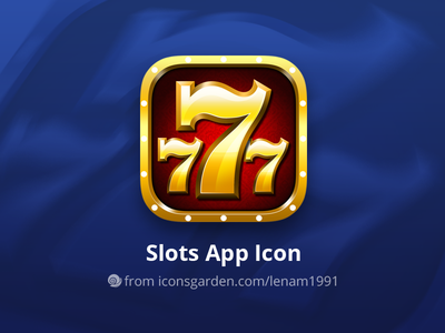 Free PSD Slots app icon 777 casino game gamble diamond golden gold slots slot iconsgarden icon ios