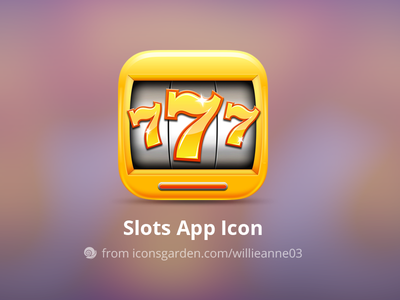 Free PSD Slots 777 app icon 777 slot machine coins coin button spin casino gamble gold slots slot iconsgarden