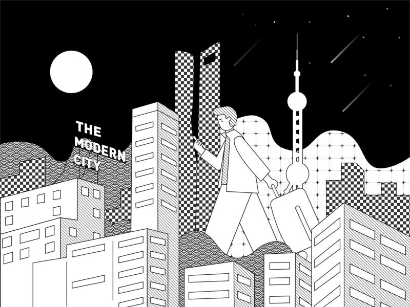 The Modern City black and white night city shanghai illustration