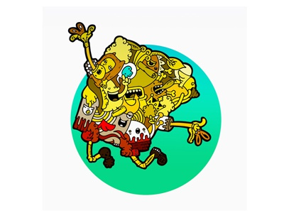 Cartoon with cartoons (Bob Sponge) cartoon illustration carnivorum