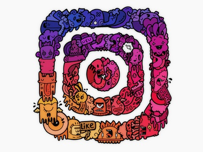 Instagram by carnivorum color illutration cartoons carnivorum instagram logotype