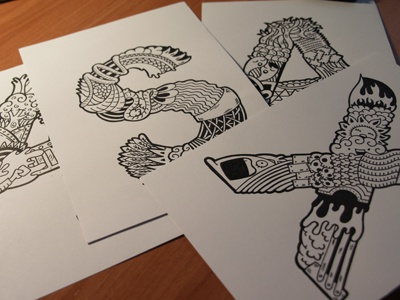 Bocetos tipografía (sketches) typography illustration carnivorum
