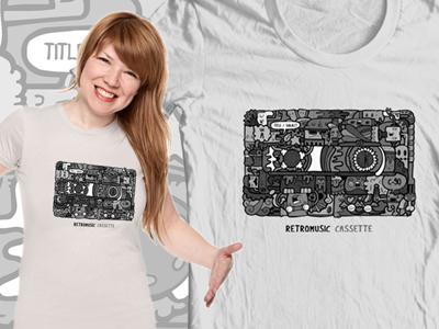 Retromusic T-Shirt cartoon carnivorum illustration cassette retromusic